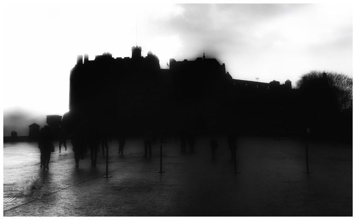 Edinburgh Castle Edinburgh Blackandwhite Black & White Silhouette Rain Rainy Days Castle People People Watching Tourism Tourists Tourist Attraction  EyeEm Eye4photography  EyeEm Gallery