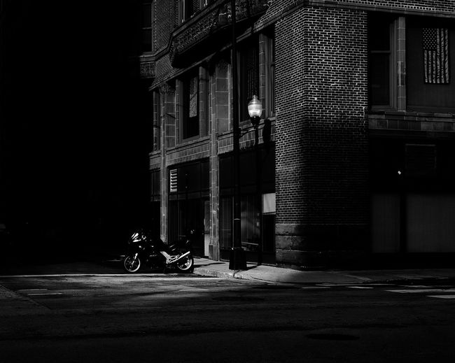 Noir bike Built Structure Building Exterior Architecture City Transportation Street Night Building Illuminated No People Outdoors Motorcycle Parking Residential District Stationary