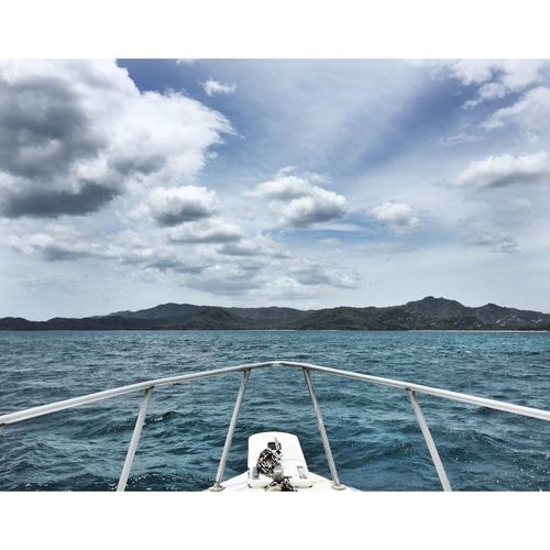 In a Boat , heading back to Flamingo Beach after a day of Scuba Diving at Catalinas islands in Pacific Costa Rica
