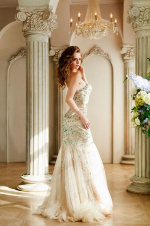 Wedding Dress One Person Bride Young Adult Full Length Real People Young Women Wedding White Color Architecture Beautiful Woman Architectural Column Standing One Young Woman Only Elégance Formalwear Life Events Portrait Evening Gown Glamour Chanel Prada Dior Valentino Dolce & Gabbana