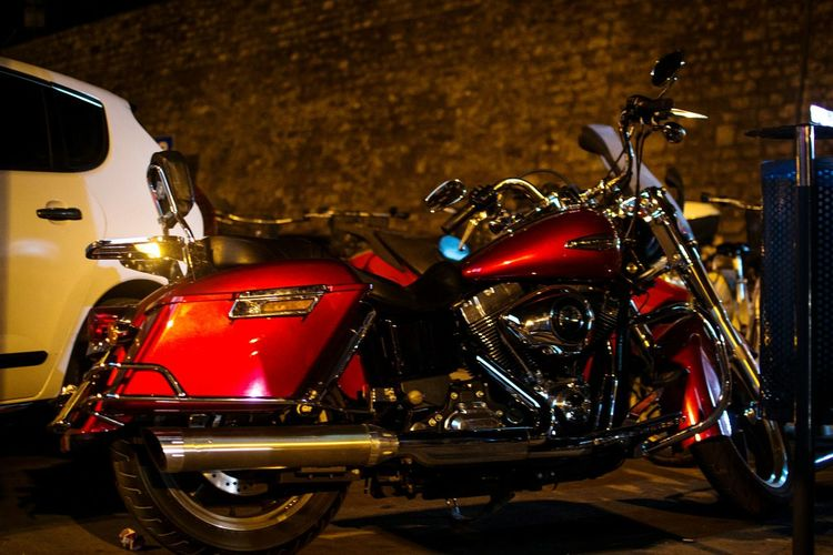 Motorcycle Mode Of Transport Stationary Transportation Land Vehicle Night Red No People Outdoors Illuminated Croatia ❤