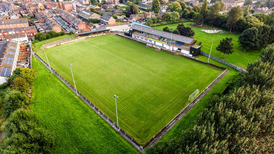 Prescot Cables football club Aerial View Cables Football Club Grass Playing Field Prescot Soccer Field Sport