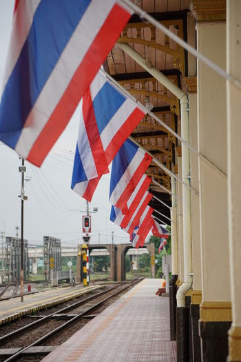 Thai flag at Ayutthaya train station Ayutthaya Thai Train Flag Railroad Track Thai Flag Thai Train Station