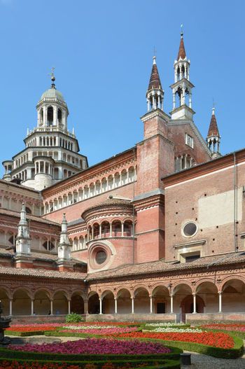 Certosa di Pavia Church and Monastery, Pavia, Lombardy, Italy Italy Pavia Certosa Certosa Di Pavia Architecture Built Structure Building Exterior Sky Religion Place Of Worship Building History Spirituality Belief Arch The Past Nature Travel Destinations Tower Clear Sky Day Blue No People Outdoors Courtyard  Spire