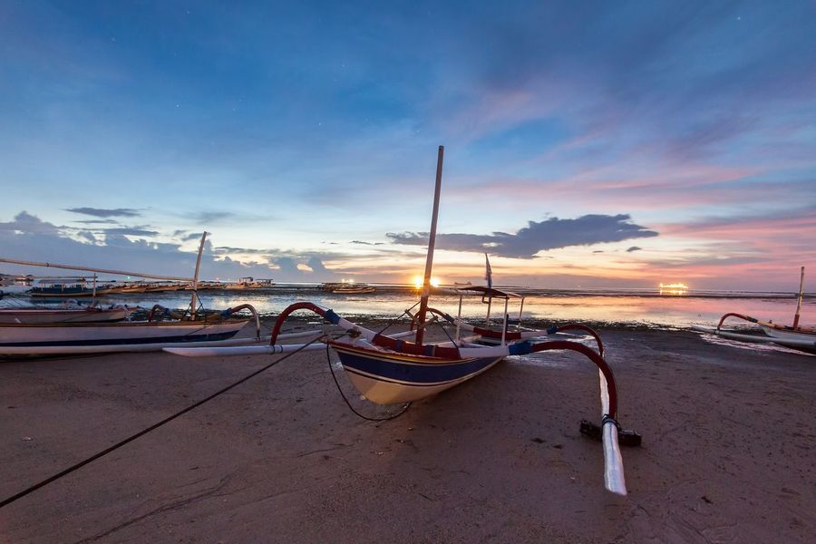 Holiday in Bali, Indonesia - Reflection Sunrise in Tanjong Benoa with boat Bali Bali, Indonesia Balinese Beach Benoa Boat Fishing Holiday Indian Ocean INDONESIA Muddy Outdoors Reflection Sea Seaweed Sunrise Sunset Tanjong Tanjong Benoa Traquility Vacation Water