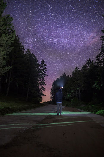 Adult Astronomy Beauty In Nature Constellation Galaxy Lake Men Nature Night One Man Only One Person Only Men Outdoors People Sky Space Star - Space Tree Wonderlust