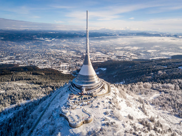 Czech Beauty In Nature Cold Temperature Day Fromwhereidrone High Angle View Jested Landscape Liberec Mountain Nature No People Outdoors Scenics Sky Snow Winter