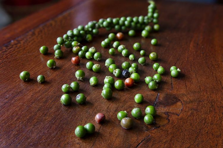 High angle view of berries on table