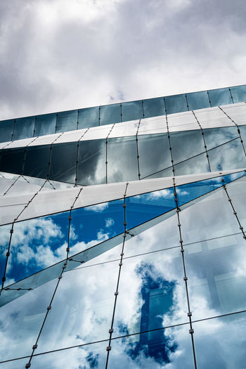 Glass building with reflection against cloudy sky