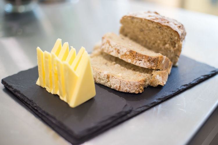 Close-up of bread in plate