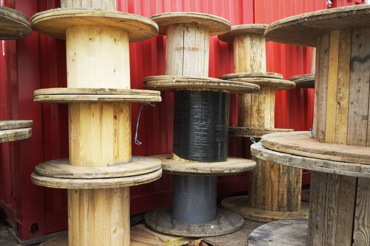 Wooden Spools At Warehouse