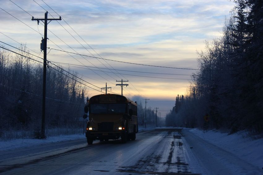 Transportation Cable Winter Cold Temperature Snow Sky Power Line  Mode Of Transport Sunset Silhouette Electricity Pylon Tree Railroad Track Electricity  No People Rail Transportation Outdoors Nature Day Early Morning School School Bus Alaska Fairbanks Cold