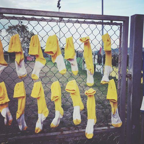 Calze Calzettoni Campo Da Calcio Allenamento Calcio Yellow Protection Hanging Outdoors Metal No People Day