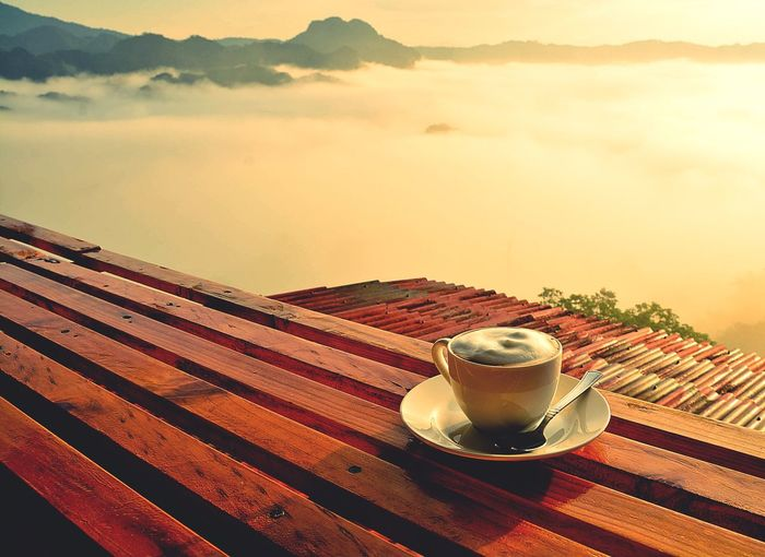 Cup Drink Food And Drink Refreshment Mug Sky Coffee Table Coffee Cup Hot Drink Coffee - Drink Crockery Food Cloud - Sky Freshness Nature