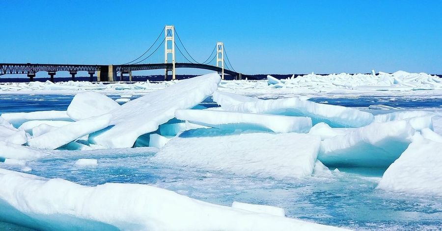 Mackinaw Bridge Blue Ice Cold Temperature Snow Sky Tranquil Scene Environment Landscape Scenics - Nature Outdoors Ice First Eyeem Photo