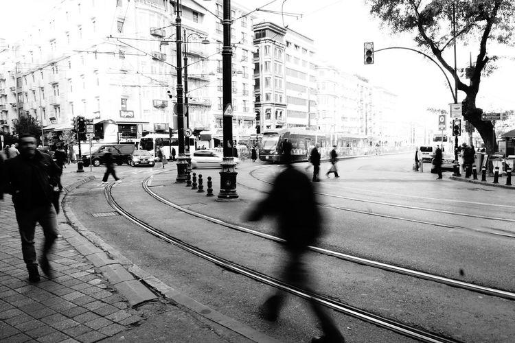 People walking on city street