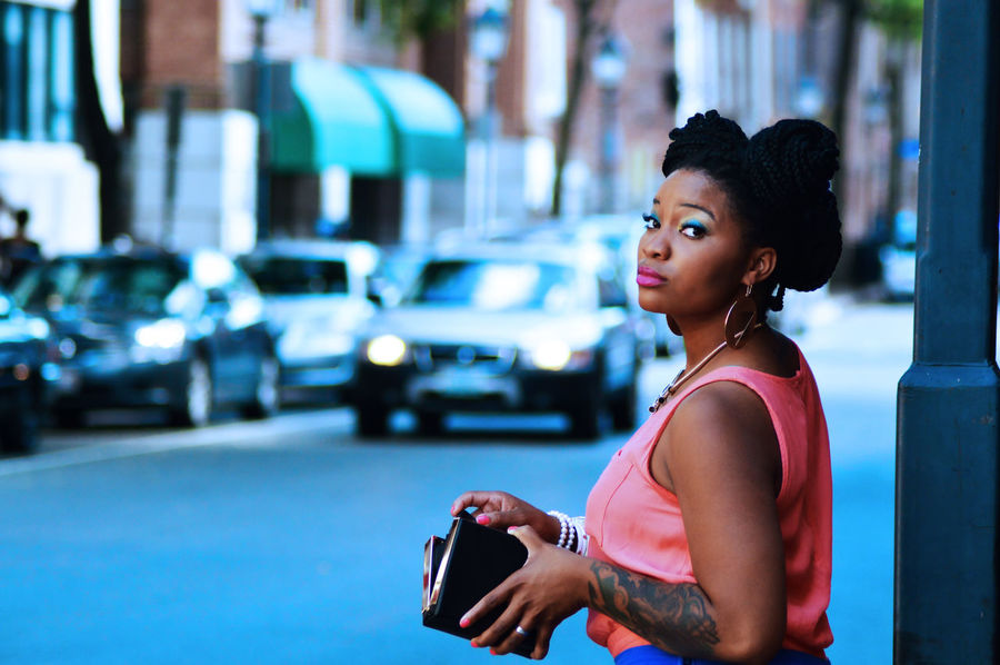 Beautiful People Beauty Blackhair Car Lights Hair Lifestyles One Woman Only One Young Woman Only Outdoors Pink Portrait Steetphotography Tattoo Waist Up Watching