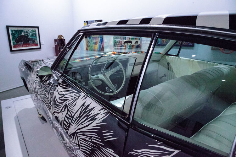 Los Angeles, CA, USA - July 23, 2017: Black and white 1968 Chevrolet Impala lowrider called El Muertorider by artists Artemia Rodriguez and John Jota Leanos displayed at the Petersen Automotive Museum. Editorial use. 1968 Artemia Rodriguez Automobile Chevy Chicano Art Classic Car Classic Cars El Muertorider Impala John Jota Leanos John Leanos La Katrina Lowrider Petersen Automotive Museum Skeleton Black And White Chevrolet Chevrolet ımpala Folk Art  Indoors  No People Old Car Vintage