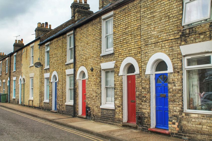 Architecture Blue Brick Wall Building Exterior Cambridge Cimney Day Door Doors England English Entrance Front Door London Neighborhood Neighbors No People Outdoors Red Residential District Street Uk Window