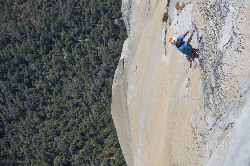 High angle view of person on rock