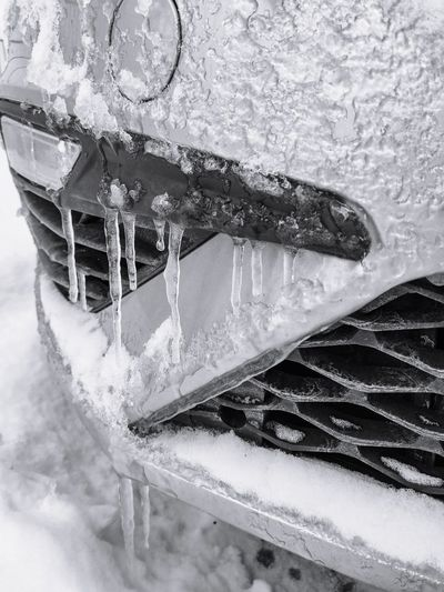 High angle view of icicles on snow covered