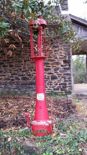 Red Day Outdoors No People Historical Site Historical Gas Light Post Red Lamp Post Lamp Post