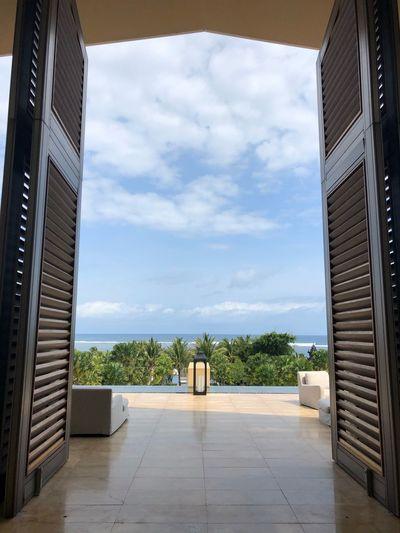 Entrance of building against sky