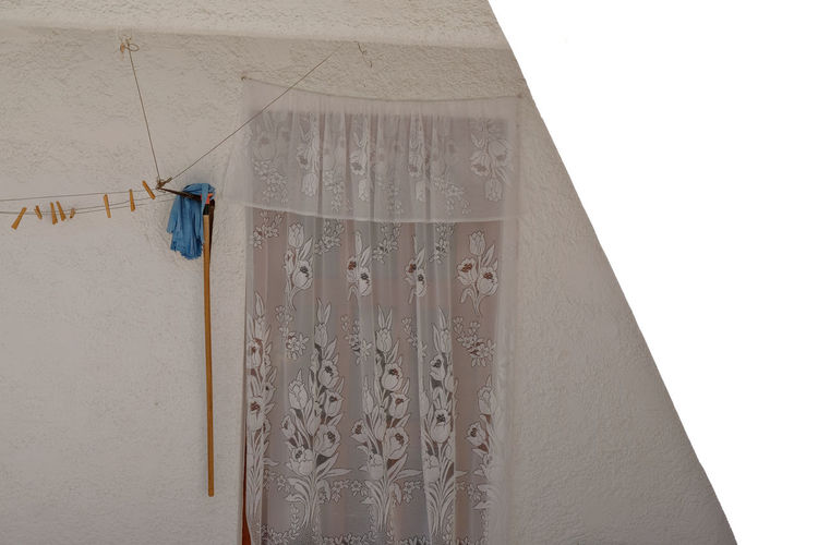 Copy Space Crete Greece Sunlight Tranquility Building Exterior Built Structure Clothesline Clothespin Curtain Day Lace Light And Shadow No People Sun Travel Destinations Village Village Life White Background Window Wiping Cloth