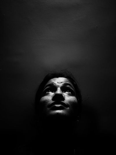 Black Portrait Blackandwhite Black And White Photography Filtered Image Indoors  Headshot One Person Portrait Human Body Part Body Part Human Face Real People Front View Close-up Lifestyles Young Adult Leisure Activity Dark