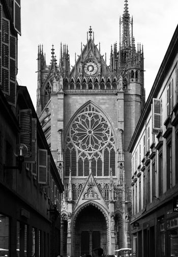 Blackandwhite Metz Like Followme Built Structure Architecture Building Exterior Building Sky Place Of Worship Religion Spirituality City No People Travel Destinations Travel Tourism Gothic Style Spire  Ornate Low Angle View Adventures In The City