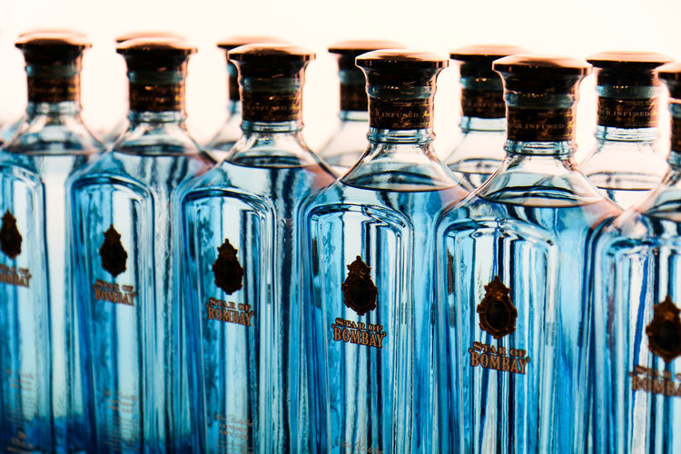 At the Bombay Sapphire Distillery EyeEm Selects No People Blue Close-up Alcohol Bottle GIN Bombay Sapphire Drink The Week On EyeEm