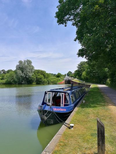 Mooring Canal Canals And Waterways Wiltshire Kennet And Avon Canal Canal And River Trust Tree Water Nautical Vessel Sky Moored Houseboat Lush Foliage Water Vehicle Boat