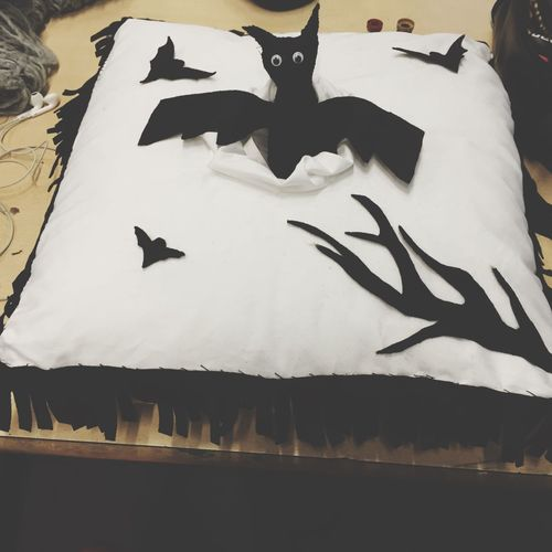Pillow Bat Contrast Children Sweet B&w Toy Selfmade Donation Hospital