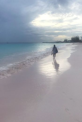 Girl Walking On The Beach Girl On Bench Watercolor Painting Dusk Sunset Caribbean