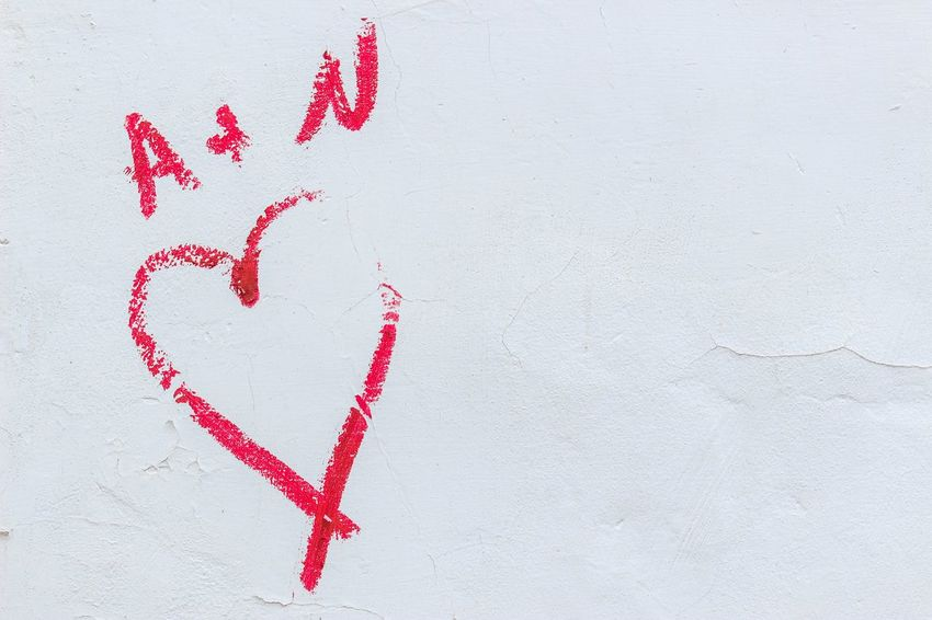 A+N Red Positive Emotion No People Love Emotion Heart Shape Wall - Building Feature White Color Text Close-up Outdoors Social Issues Day Copy Space High Angle View Creativity Studio Shot Crime Communication Nature