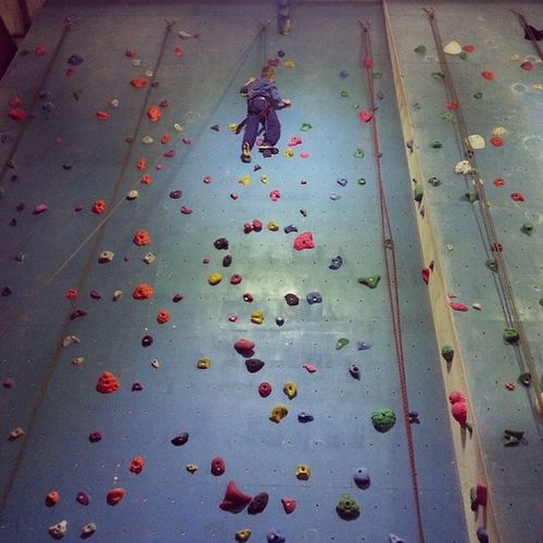 My boy overcoming some fears. Climbingwall Boulders Cardiff