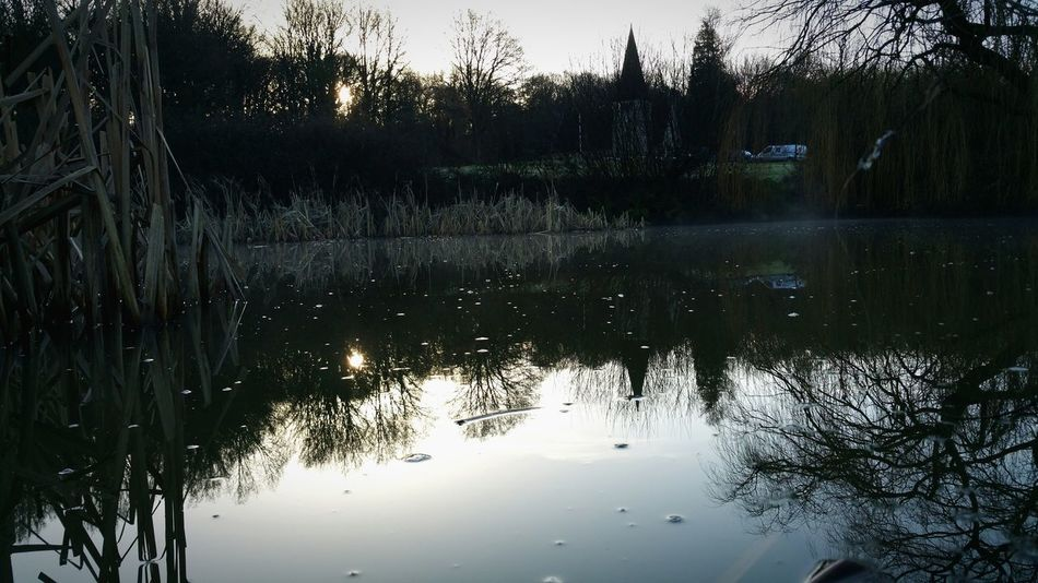 Sunrise Freezing Cold Pond My Fishing Spot Church Symmetry Reflection As Above So Below