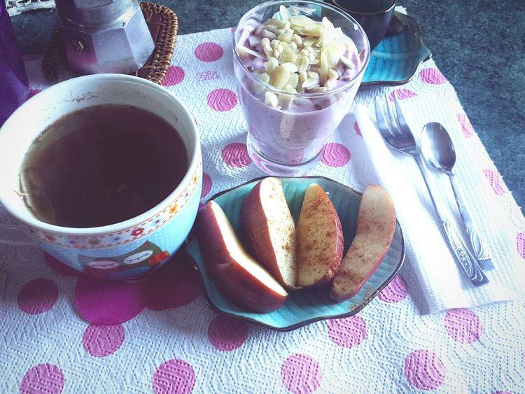 Iniziamo bene la mattina Breackfast Healthy Healthy Food Healthy Breakfast Apple Tea Is Healthy Colazione Time  Coffee ☕ Caffè Italiano Love It