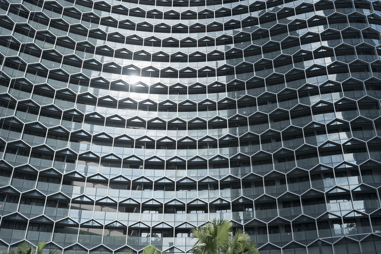 The colourful, sleek, old and new architecture of Singapore. Architecture Singapore The Architect - 2018 EyeEm Awards Architecture Backgrounds Built Structure Circle Close-up Day Design Full Frame Geometric Shape Grate Grid Hexagon In A Row Indoors  Metal No People Pattern Repetition Shape