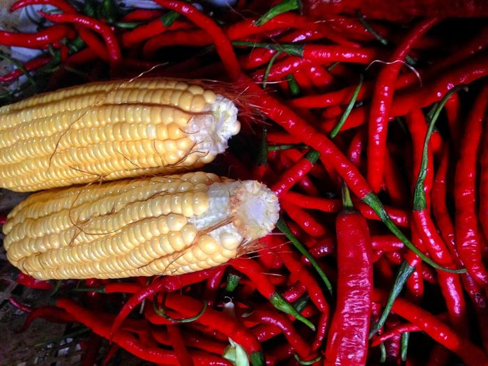 Red chili peppers and corns at market for sale