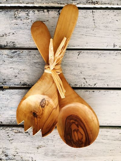 Natural Carved Natural Fork Spoon Wooden Wood - Material No People Close-up Still Life Table Food And Drink Indoors  Brown Decoration Directly Above