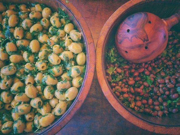 Olives Wooden Utensils Bowl Ready To Eat London Market Delicious Foods Mediterranean  Greek Cuisine