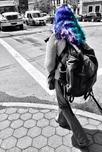 New York Color Splash Street Photography Black And White