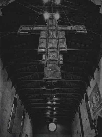 No People Architecture Low Angle View Day Built Structure Indoors  Cross Christianity Arezzo Black And White Black And White Photography Darkness Darkness And Light