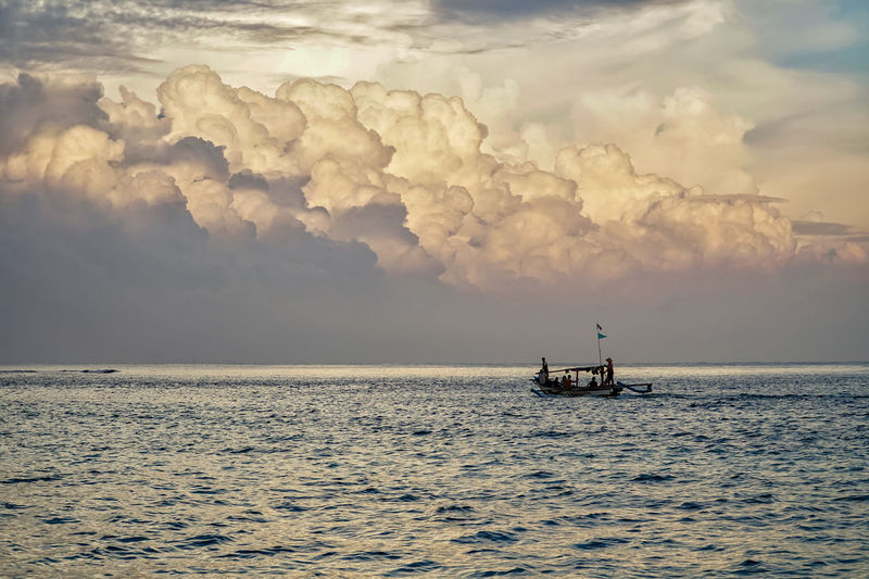 Cloudy sky at Ujung Genteng Travel Photography Landscape_Collection Landscape_photography Petualangcemen Travel Destinations Nature_collection Wallpaper Sea And Sky Ujunggenteng Oil Pump Offshore Platform Nautical Vessel Water Sea Industry Drilling Rig Fisherman Sunset