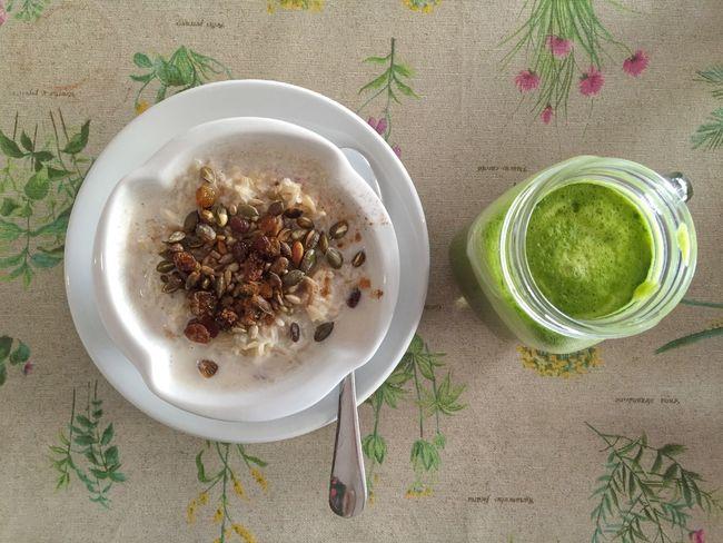 Healthy breakfast My Favorite Breakfast Moment Breakfast Healthy Food Porridge Juice Green Table Tablecloth Seeds Glass Cafe
