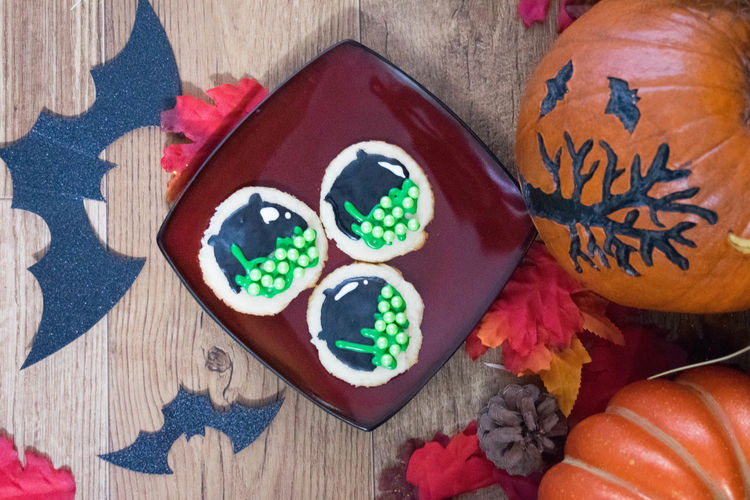Baked Goods Cookies Halloween Halloween Treats SugarCookies Treats Close-up Communication Day Festive Food Food And Drink Freshness High Angle View Indoors  Multi Colored No People Still Life Sugar Cookies Table