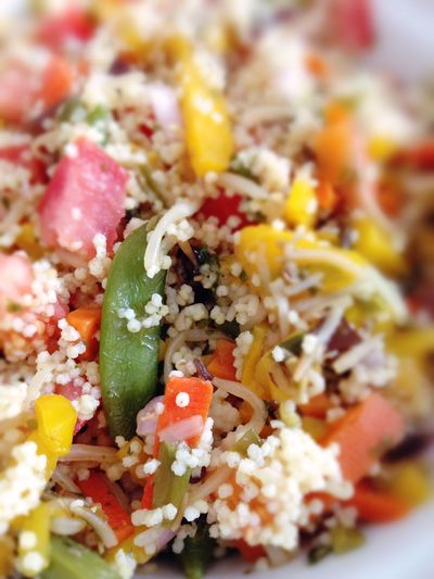 colorful mixed vegetables with sorghum Close-up Food Meal Paprika Ready-to-eat Sorghum Tomatoes Vegan Food Vegetables Vegetarian Food