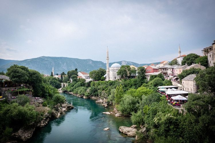 Mostar Stari Most Mostar Built Structure Architecture Building Exterior Plant Tree Sky Water City Travel Destinations Outdoors
