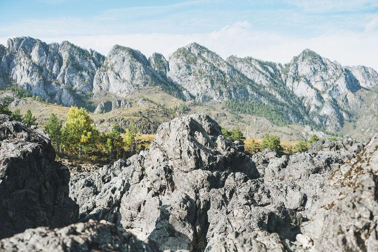 Beautiful view of the altai mountains, russia, autumn season